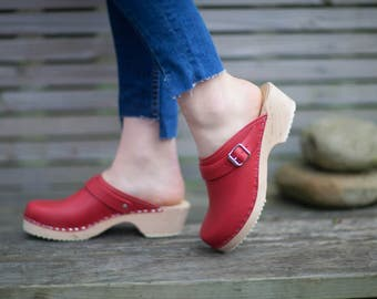 Swedish Clogs Classic Red Leather With Strap by Lotta from Stockholm / Wooden Clogs / Handmade / Mules / Low Shoes / Scandinavian / Sandals