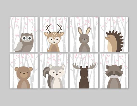 Baby Mädchen Kinderzimmer Dekor Wald Tiere Wald Kindergarten