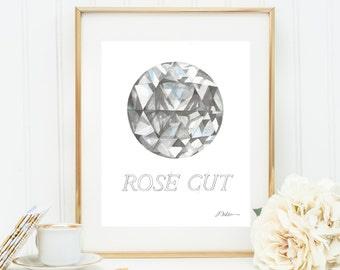 Rose Cut Diamond Watercolor Rendering printed on Paper
