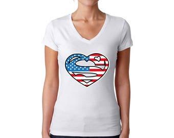 USA Heart Flag V-neck T shirts Tops USA Women's Shirts Fourth of July shirt USA Flag 4th of July shirt Heart