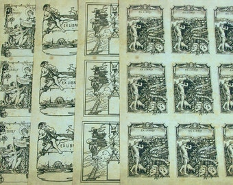 Vintage Style Book Stickers in Medieval Themes on Antique Paper, Ex Libris, Including Skeleton