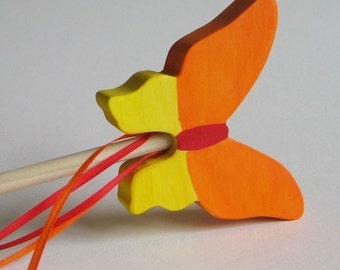 Wooden Orange and Yellow Butterfly Wand