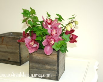 wood box planter flower box rustic pot square vases for wedding wooden boxes rustic chic wedding table decor