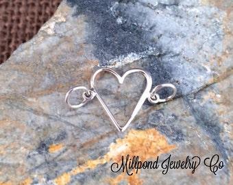 Heart Charm, Heart Pendant, Open Heart Link, Silver Heart Charm, Heart Cut Out Charm, Sterling Silver Charm