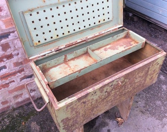 Vintage steel industrial tool box