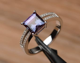 lab alexandrite ring engagement ring square cut solid sterling silver ring June birthstone color changing gemstone ring