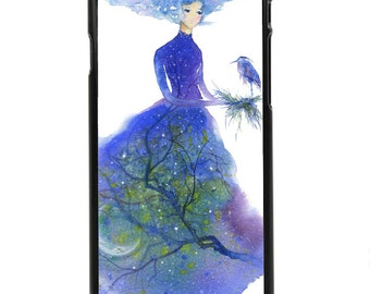 "Phone Case ""Twilight"" - Night, moon, Stars, Heron, Evening, Sky, Blue, Watercolor Art Painting By Olga Cuttell"