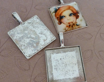 8 pcs Antique silver large square setting with bail, cabochon base 25mm