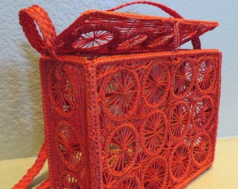 Red Handwoven Rectangular Handbag