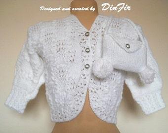 GIRL SWEATER and PURSE / Hand Knitted Children Jacket Handmade Elegant Cardigan Bolero Shrug Crochet Warm Fall Spring Gift Ideas Accessories
