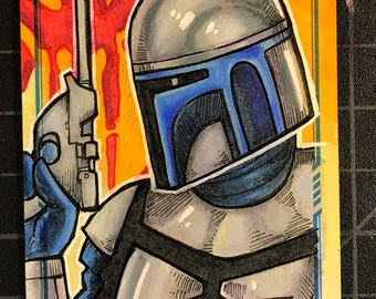 Star Wars Masterwork Original Artist Sketch Card: Jango Fett