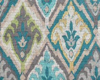 Two 20 x 20  Custom Decorative Covers   - Indoor/Outdoor - Large Ikat -Teal Aqua Blue Grey Green