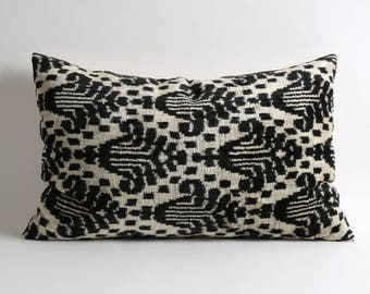 Black & White Handwoven Ikat Velvet Pillow Covers, 16x24 black ikat pillow, black velvet pillow, black pillows
