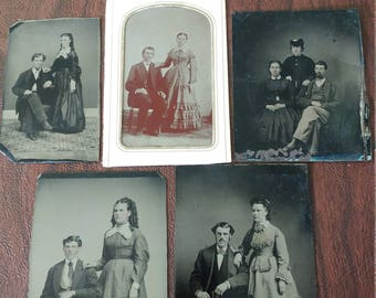 Civil Portraits:  Lot of 5 Antique Tintype Photographs of Civil War Era Couples and Family