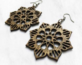 Wood Mandala Earrings - Bohemian Earrings, Wood Jewelry, Natural Jewelry, Lightweight Jewelry, Gifts for Women, Laser Cut Jewelry, Bohemian