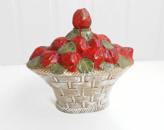 Vintage Italian Majolica pottery strawberry decanter | strawberries in the basket corked carafe, liquor bottle with a stopper