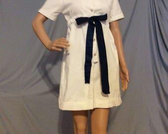 Winter White Corduroy Mini Dress, Umpire waist,baby doll waistline, Petite