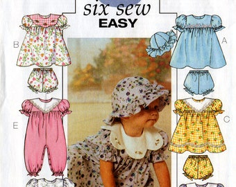 Uncut Infants' DRESS JUMPSUIT HAT Panties Pattern Butterick #4110 Size Small-Medium-Large-Extra Large Spring/Summer 6 Easy Views Sewing