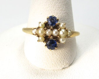 Antique blue glass pearl 14k ring