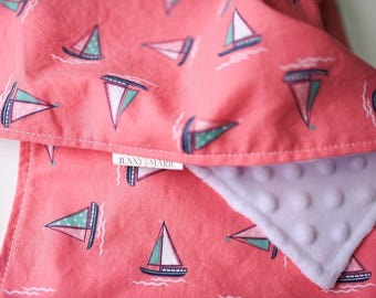 Baby Girl - Lovey - Blankie - Security blanket - Minky - Sailboat - Pink - White - Baby shower gift