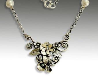 Leaves necklace, Sterling silver Necklace, gold and pearls necklace, silver gold necklace, floral necklace, pearls - Be there again N4633C