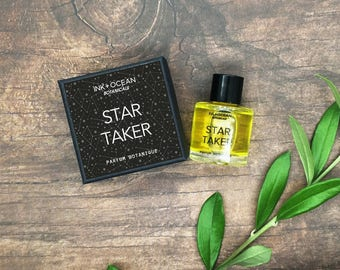 Star Taker Natural Botanical Vegan Perfume Oil. Earthy Woody Herbaceous. Patchouli, Lemon, Cardamom, Bergamot, Lavender , gift boxed.
