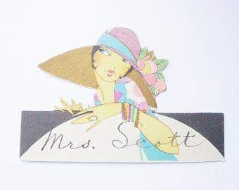 Vintage Buzza place card art deco Flapper lady with large picture hat ephemera