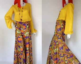 Vintage 1960s palazzo pants / trousers / flares / Psychedelic Hippie // Festvial // Made in Italy