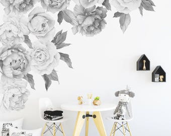 Black and White - Peony & Rose Individual Wall Decals