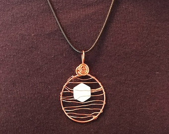 Copper and Mother of Pearl Pendant/Necklace-Handmade