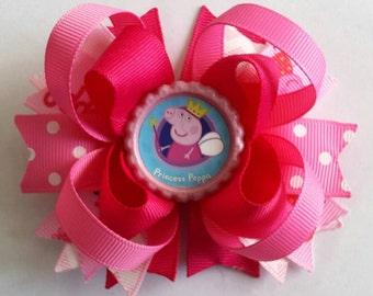Peppa Pig Bow- Peppa Pig Birthday Party-  Peppa Pig Hair Clip