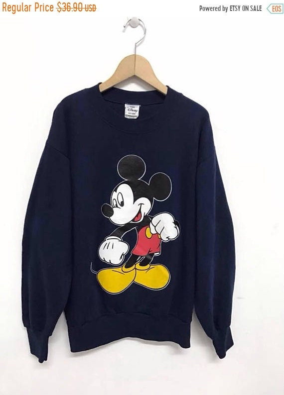 Rare And Vintage Crew Neck Pullover Sweatshirt Walt Disney Cartoon MICKEY MOUSE CALIFORNIA Printed Big Logo Vintage Mickey Clothing Medium udbF0Qccv