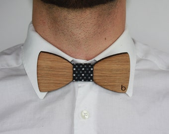 Wooden bow tie with Party fabric