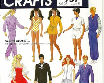 McCall's Crafts 757 Wardrobe for Barbie & Ken Dolls Sewing Pattern UNCUT
