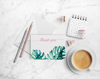 Tropical Thank You Note Cards, A2 Folded Cards, Palm Leaves, Pink and Green, Tropical Leaves