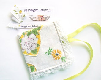 Needlecase Sewing Gift, Needle Book Sewing Needle Book, Re-purposed Vintage Handkerchief Dresser Scarf, Sewing Case Embroidery Needle Holder