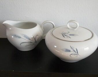 Vintage Fine China Japan China Harvest Wheat -  Creamer + Sugar Bowl With Lid -