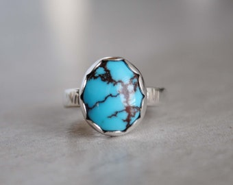 SIZE 5, Egyptian Turquoise Ring, Sterling Silver Egyptian Turquoise Jewelry