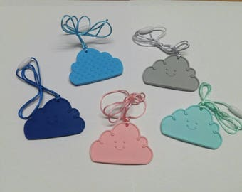 Silicone Cloud with cord and clasp.