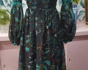 Stunning 70s balloon chiffon sleeve maxi dress