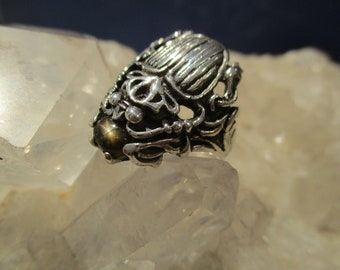 Scarab Beetle Ring w/ Star Sapphire ~Hand Cast~ Sterling Silver