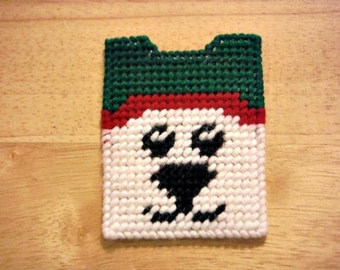 Polar Bear Gift Card Holder, Plastic Canvas, Christmas Gifts, Kids Gift Cards, Needlepoint Canvas, Animal Gift Card Holder, Holiday Gift