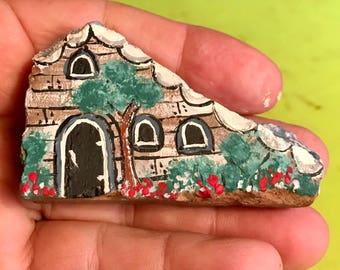Cute stone fairy house, painted fairy Home rock