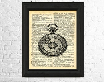 Pocket Watch Wall Art, Steampunk Dictionary Page Art - Pocket Watch Printable Art, Steampunk Wall Art, Printable Poster, Steampunk Poster