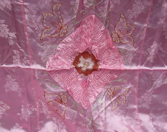 Vintage FANCY Silky Pink Rose Damask Embroidered Full Bedspread & Pillowcases