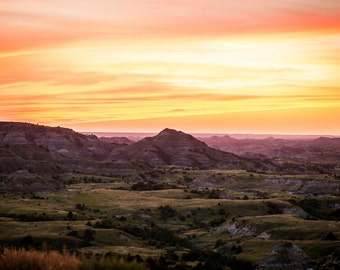 Summer sunset over the Painted Canyons in Theodore Roosevelt National Park-Medora-North Dakota-Landscape photography