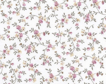 42 x 145 cm fabric flowers in pink and ecru cotton