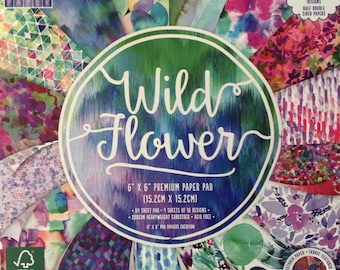 """First Edition Wild Flower Paper Pad 6"""" x 6"""" 64 sheets 200gsm Cardstock"""