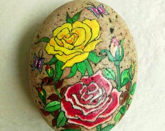 Hand painted stone painting Beautiful flowers