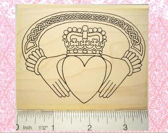 Large Irish Claddagh Rubber Stamp Wedding Engagement Anniversary Valentine #336